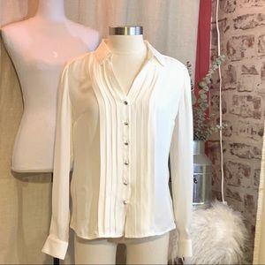 WHITE HOUSE BLACK MARKET Pintuck Silk Button Up 4